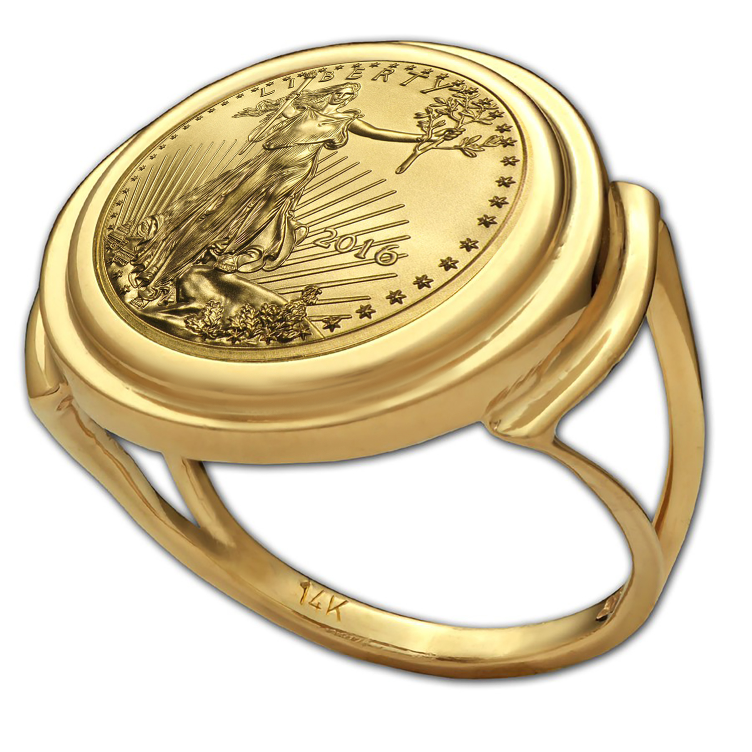 2016 1/10 oz Gold Eagle Ring (Polished-Prong)